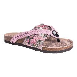 Women's MUK LUKS Elaine Thong Sandal Pink Cow Suede/Polyester