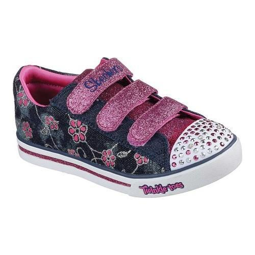 2b4a7a374a71 Shop Girls  Skechers Twinkle Toes Sparkle Glitz Denim Daisy Sneaker  Denim Hot Pink - Free Shipping On Orders Over  45 - Overstock - 20046492