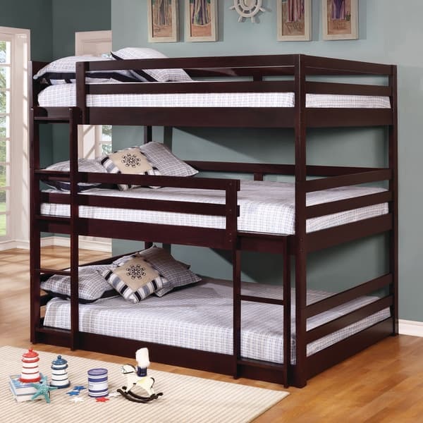 Shop Taylor Olive Hale Cappuccino 3 Tier Bunk Bed On
