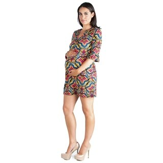 24/7 Comfort Apparel Three Quarter Sleeve Maternity Tunic Dress