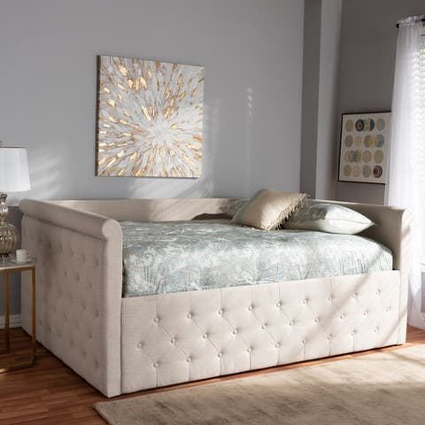 Copper Grove Harriet Tufted Upholstered Daybed with Scrolled Arms