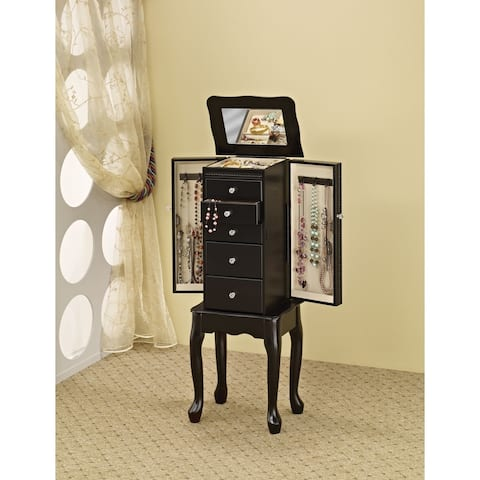 "Copper Grove Loches Jewelry Armoire with Flip-Top Mirror in Black - 13"" x 9"" x 35"""
