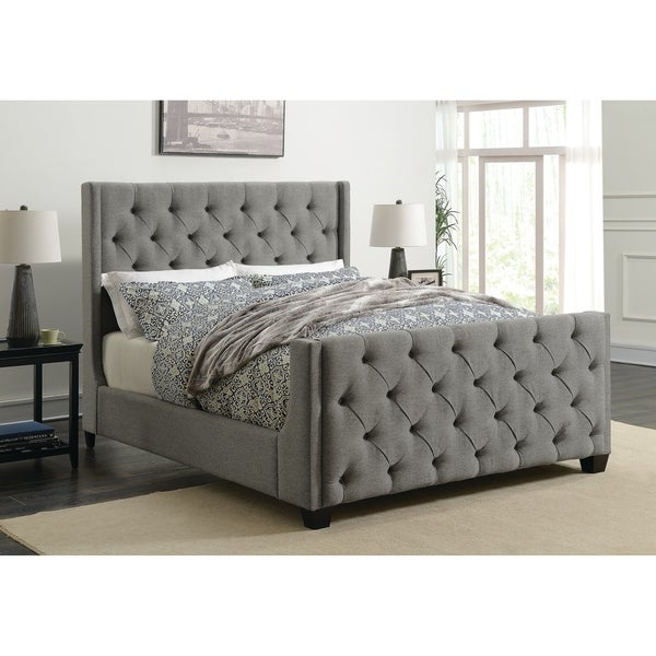 6e59485f2cf6 Shop Strick & Bolton Nellie Light Grey Upholstered Bed - On Sale ...