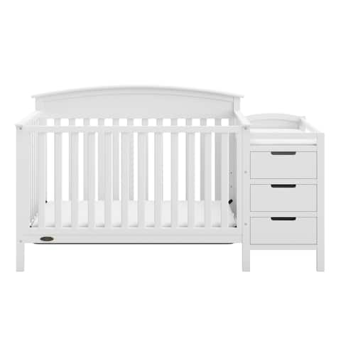 Graco Benton 4-in-1 Convertible Crib and Changer  Attached Changing Table with Water-Resistant Changing Pad