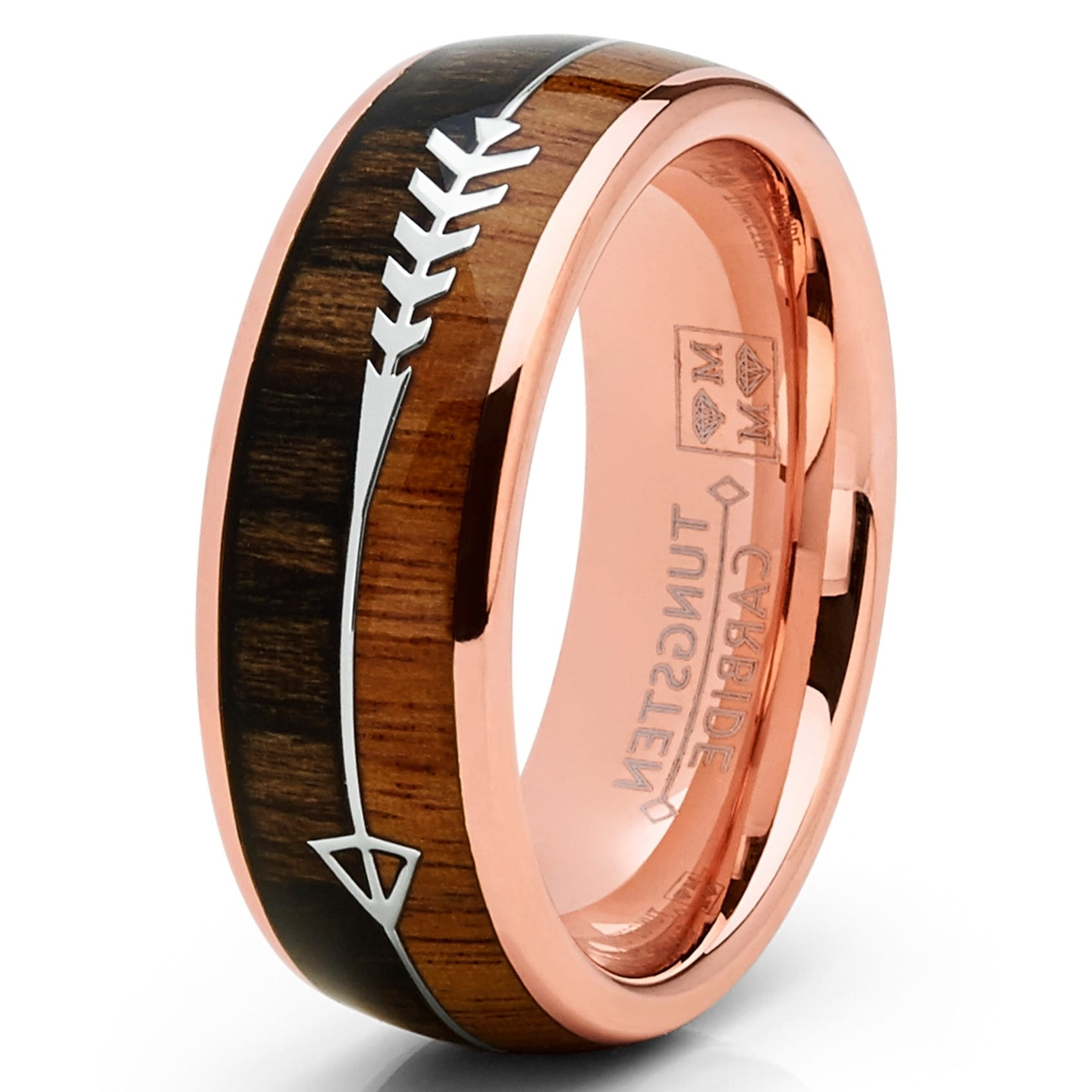 Oliveti Tungsten Carbide Rose Goldtone Arrow Wedding Band Hunting Ring Koa Wood (14.5)