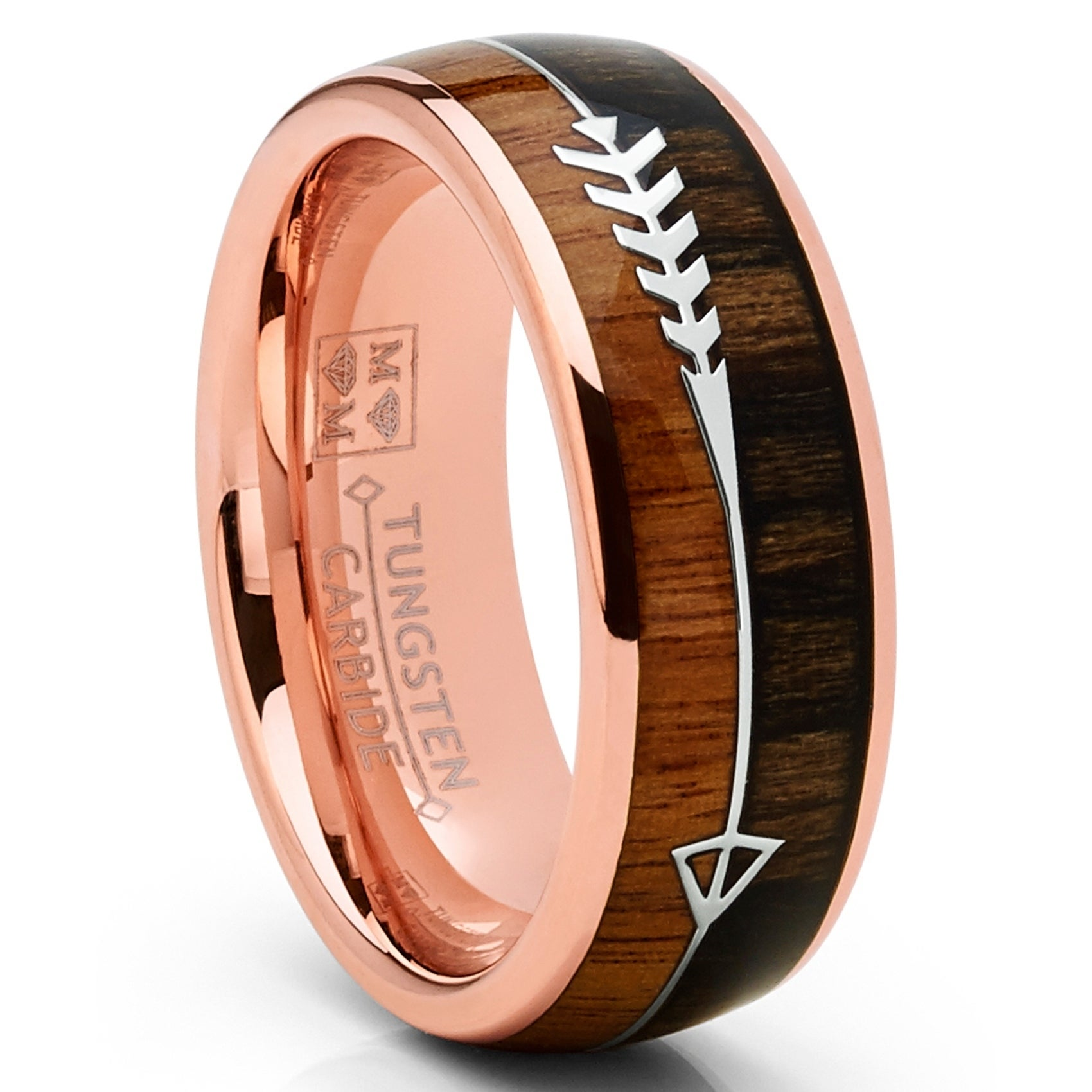 Shop Oliveti Men S Tungsten Carbide Rose Goldtone Arrow Wedding