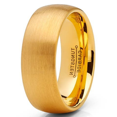 Oliveti Men's Classic Dome Brushed Tungsten Carbide Wedding Band GoldTone, Comfort Fit