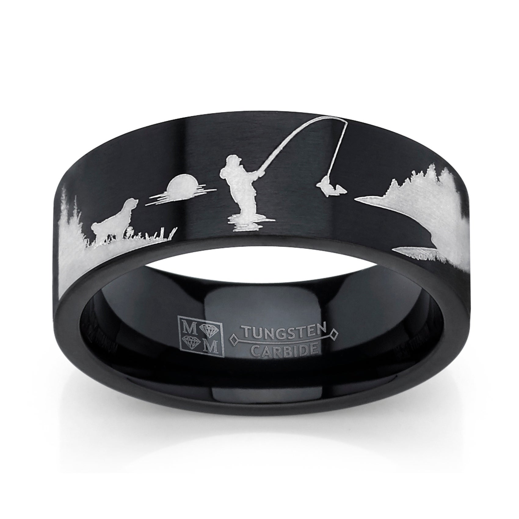 Oliveti Black Tungsten Trout Lake Fly Fishing Enthusiasts Ring, Outdoor Scenery Band 8mm (7.5)
