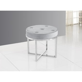 Best Master Furniture Grey Upholstered Accent Stool with Chrome Base
