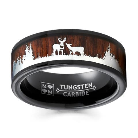 Oliveti Men's Black Tungsten Hunting Ring Wedding Band Wood Inlay Deer Stag Silhouette 8MM