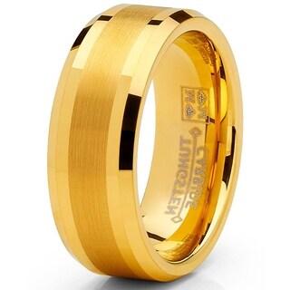 Oliveti Tungsten Carbide Men's Goldtone Brushed Wedding Band Ring Comfort Fit 8 mm