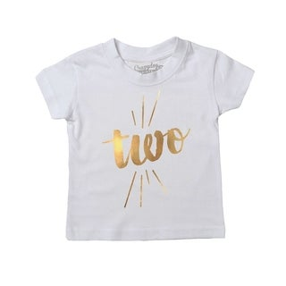 Infant Two Years Old Gold Shimmer Application Cute Birthday T shirt