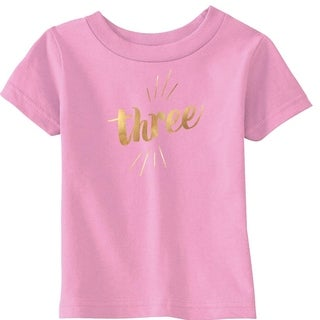 Toddler Three Years Old Gold Shimmer Application Cute Birthday T shirt