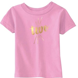 Toddler Two Years Old Gold Shimmer Application Cute Birthday T shirt