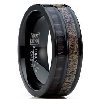 Oliveti Men's Tungsten Ring Wedding Band Real Deer Antler, Koa Wood Inlay, Outdoor Hunting