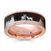 Oliveti Rose Goldtone Tungsten Hunting Ring Wedding Band Wood Inlay Deer Stag Silhouette