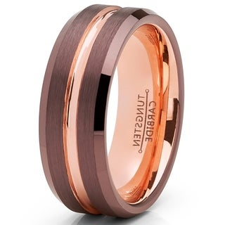 Oliveti Chocolate Brown and Rose GoldTone Tungsten Carbide Wedding Band Ring 8mm