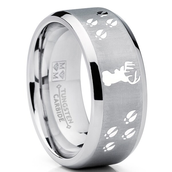 Mens Outdoors Bands: Shop Oliveti Men's Tungsten Ring Wedding Band Deer Track