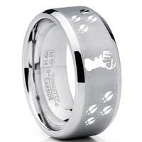 Oliveti Men's Tungsten Ring Wedding Band Deer Track Outdoor Jewelry 9MM