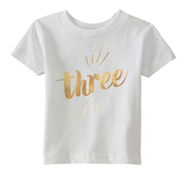Shop Toddler Three Years Old Gold Shimmer Application Cute Birthday T Shirt