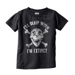 Toddler I'll Sleep When I'm Extinct Funny Dinosaur Infant Tee for Kids
