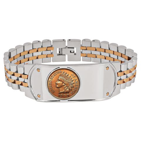 Men's Bracelet Two-Tone Stainless Steel with Indian Head Penny Coin