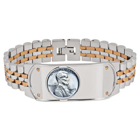Men's Bracelet Two-Tone Stainless Steel Bracelet-Lincoln Steel Penny