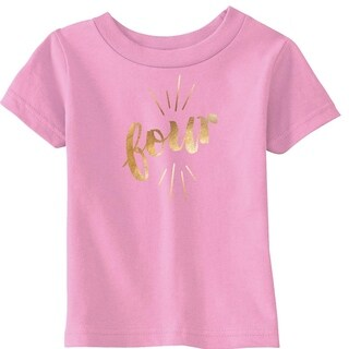 Toddler Four Years Old Gold Shimmer Application Cute Birthday T shirt