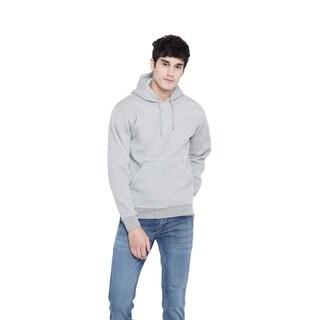 Grey Fleece Hoodies Casual Coat Pullover Mens Plain Sweatshirt Jacket