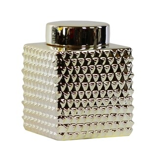 Urban Trends Ceramic Short Square 100 oz. Embossed Polygonal Design Canister in Polished Chrome Finish, Small - Champagne