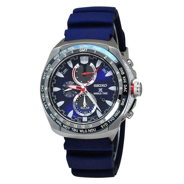 Seiko Men's SSC489 'Prospex' Chronograph Blue Silicone Watch. Opens flyout.
