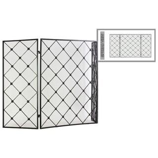 Diamond Mesh Designed Metal Hinged Fireplace Screen, Gunmetal Gray