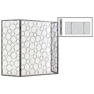 Random Circle Designed Metal Hinged Fireplace Screen, Gunmetal Gray