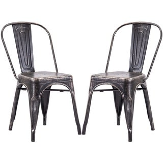 Porch & Den Illahe High Back Steel Stackable Vintage Metal Dining Chair (Set of 2)