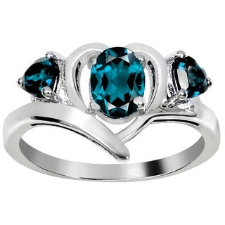 Orchid Jewelry Sterling Silver 1.5 Ct. London Blue Topaz 3 Stone Ring