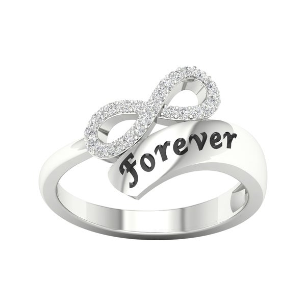 5859e312df3 1 6ct TDW Diamond Infinity Wrap Ring in Sterling Silver by De Couer - White