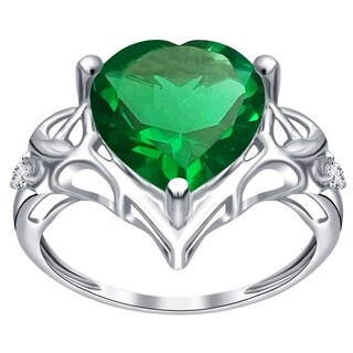 Sterling Silver 2.65 Ct. Simulated Emerald & Diamond Engagement Ring