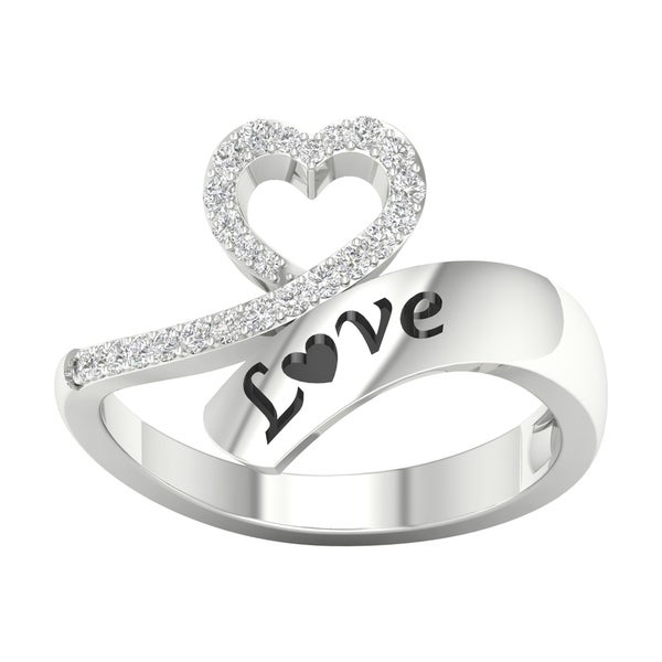 abc40536ff4 1 6ct TDW Diamond Heart Wrap Ring in Sterling Silver by De Couer - White