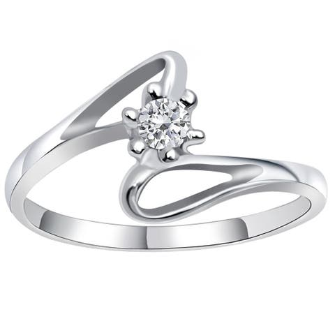 0.2 Ct. White Cz Sterling Silver Engagement Ring for Women
