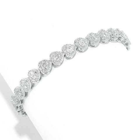 Pinctore Sterling Silver White Zircon Heart Tennis Bracelet