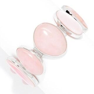 Pinctore Sterling Silver Rose Quartz & Mother-of-Pearl Toggle Bracelet