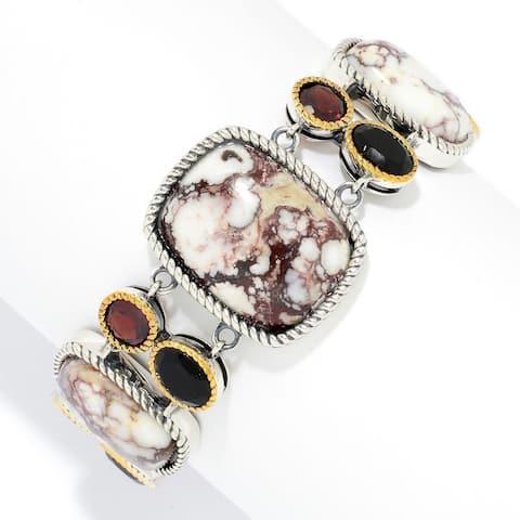Pinctore Multi Shape Wild Horse Jasper, Agate & Garnet Toggle Bracelet