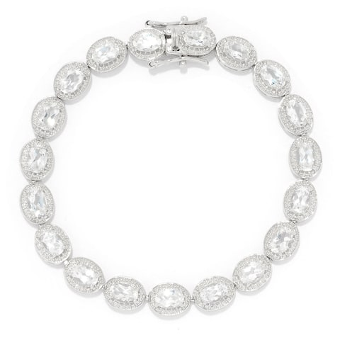 "Pinctore Sterling Silver 7.25"" 6 x 4mm White Topaz Line Bracelet"