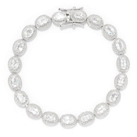 "Sterling Silver 7.25"" 6 x 4mm White Topaz Line Bracelet"