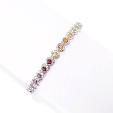Pinctore Sterling Silver Multi Gemstone Heart Tennis Bracelet