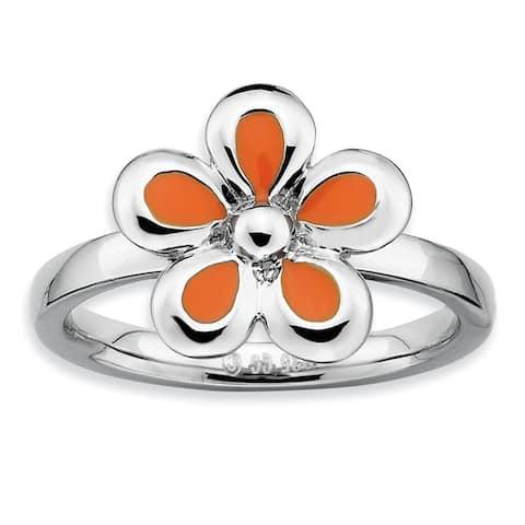 Sterling Silver Stackable Polished Orange Enameled Flower Ring by Versil