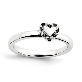 Versil Sterling Silver Stackable Heart with Black and White Diamond Ring