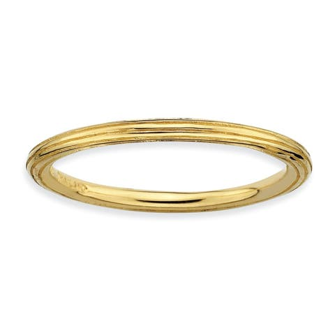 Versil Sterling Silver 14 karat Gold-plated Step Down Ring
