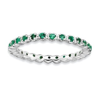 Versil Sterling Silver Created Emerald Ring