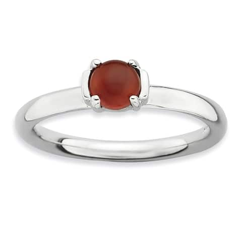 Sterling Silver Stackable Polished Red Agate Ring by Versil